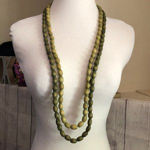 Two Green Wooden Bead Necklaces